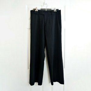 HOLT RENFREW Wool Pinstripe Dress Pants Black